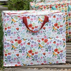 Extra Large Bag White Floral -Shopping Bags στο Καταστήματα Κύβος